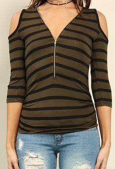 Zippered Stripe Open-Shoulder Top