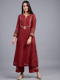 Buy Red Embroidered Silk Chanderi Kurta Women Kurtas Online at Jaypore.com Sleeves Designs For Dresses, Dress Neck Designs, Blouse Designs, Indian Designer Outfits, Indian Outfits, Designer Dresses, Designer Kurtas For Women, Indian Clothes, Pakistani Dress Design