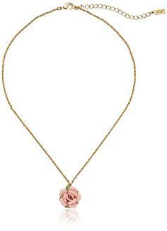"Amazon.com: 1928 Jewelry Gold-Tone Ivory Color Porcelain Rose Pendant Necklace, 16"" + 3"" Extender: Clothing"