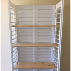 Plantation shutters from the Habitat Restore turned into shelving :-)