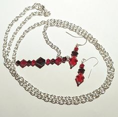 Bar Necklace Swarovski Crystal Sterling Silver Fire Opal Handmade Layering S Crystals And