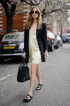Slip dress with boyish flats and an oversize blazer.