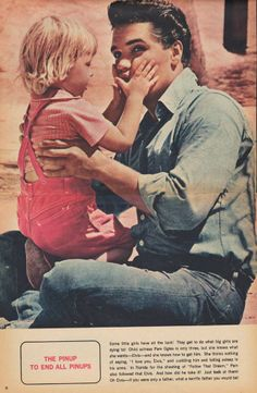 """""""The Pinup to end all pinups""""- 1962 Magazine Pin-Up picture features Elvis Presley with a cute little girl."""