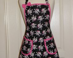 Glam, Goth, Skulls Apron with Skulls, Pink Bows - In Black with White, Pink, and Silver Glitter - Handmade How To Make Bows, How To Wear, Skulls And Roses, Silver Glitter, Pink Color, Barber Equipment, Cooking Aprons, Goth, Cotton Fabric