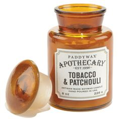 Tobacco & Patchouli Apothecary Bottle Candle-  The  candles burn for hours and smell so so amazing can't get over the price literally better then any expensive candle I have used !