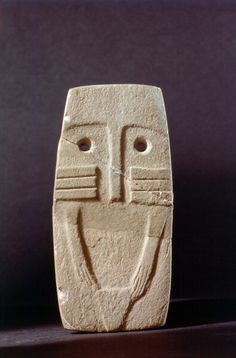 """A mother figure idol, the so-called """"eye idol"""". Country of Origin: Iberia. Date/Period: Neolithic. Credit Line: Werner Forman Archive/ National Archaeology Museum, Madrid Ancient Goddesses, Art Premier, Early Middle Ages, Idole, Ancient Artifacts, Stone Carving, Tribal Art, Stone Art, Ancient History"""