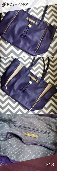 """Pre-owned Olivia + Joy purple tote bag Great big sized purple tote bag. Some wear around the edges.   14"""" length, 12.5"""" height, 5.5"""" wide Olivia + Joy Bags Totes"""