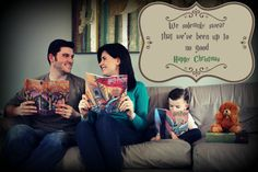 Super Cute Harry Potter Pregnancy Announcement ! Nerdy, with the family reading books. We even used it as a geeky Christmas card announcement that I was pregnant.