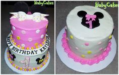 Minnie Mouse themed 1st birthday cake with coordinating smash cake.