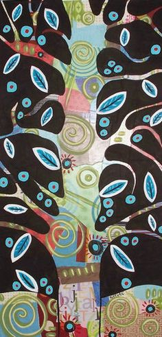 "12x24x3/4"", Collage Tree, original mixed media acrylic painting on stretched canvas, copyrighted, www.karlagerard.com"