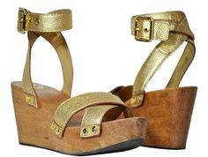 "Tory Burch - ""Risley"" Tumbled Metallic Wedges - Gold - Size 9.5 M"