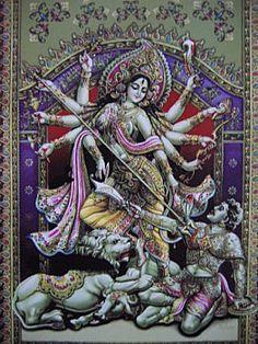 Durga slays the demon w Shiva's trident