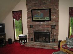 brick fireplaces with tv above | TV install, Installation of TV ...