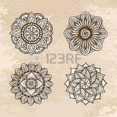 indian mandala: Set of ornamental circle floral mandalas.