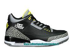 competitive price 4179c 9651e Basket Jordan 3 III Retro ´Oregon Ducks´ Custom - Chaussures Nike Air Jordan  Officiel Pas Cher Pour Homme Noir Gris 282240-594
