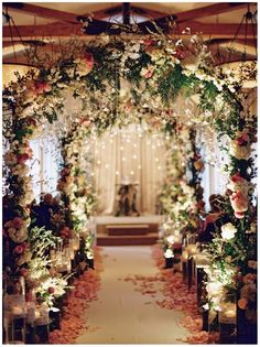 Stunning pink wedding ceremony decor