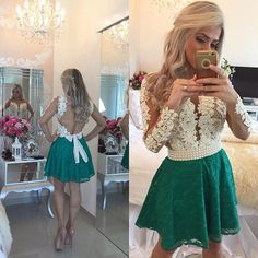 2015 Elegant A-Line Lace Long Sleeves Appliques Pearls Cocktail Dresses Short Mini Party Gowns