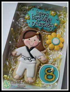 Karate girl Custom Cookies by Coastal Cookie Shoppe Karate Birthday, Birthday Cake Girls, Birthday Cookies, 8th Birthday, Fun Cookies, Cupcake Cookies, Sugar Cookies, Cupcakes, Cookie Box