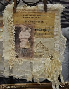 Vintage Paper, Fabric, Ribbon, & Lace Photo  Collage