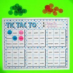Tic tac to des mots Au cours de cette activité, les élèves lisent, à haute voix, des mots d'usage courant retrouvés dans les grilles de jeu tic tac toe. Ils placent chaque fois un jeton dans la case du mot lu et tentent d'obtenir une rangée de 3 jetons. Avec des pratiques fréquentes, l'élève pourra s'approprier les mots à l'étude et en assimiler l'orthographe pour s'en servir en écriture. Literacy Games, Class Games, Literacy Centers, French Classroom, French Immersion, Teaching French, Too Cool For School, Tic Tac, Word Work