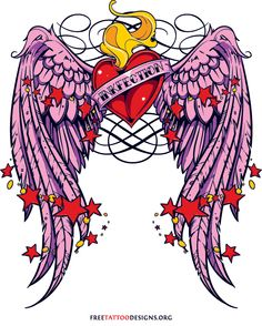 Pink winged heart tattoo design