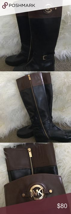 Michael Kors Riding Boots Knee high two tone leather Michael Kors boots , small heal Michael Kors Shoes Winter & Rain Boots