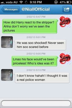 Niall's DM to a fan about Harry's stripper