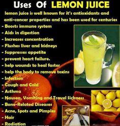 Uses and health benefits of lemon juice