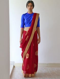 Vermilion Red Golden Draupadi Chanderi & Zari #Saree By Raw Mango. Available Online at Jaypore.com.