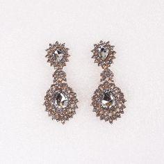 Stylish Earring Drop Inlay Crystal Round Shape Women Ladies Jewelry Earrings Stud