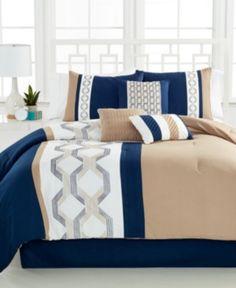 Hallmart Collectibles Carrigan 7 Piece California King Embroidered Comforter Set Bedding