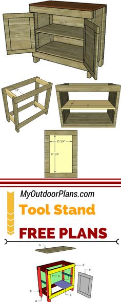 Learn how to build a tool stand with double front doors and storage shelves. Woodworking School, Woodworking Workshop, Woodworking Classes, Popular Woodworking, Woodworking Crafts, Woodworking Plans, Woodworking Furniture, Woodworking Jointer, Woodworking