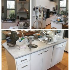 **BEFORE & AFTER** ⠀ ⠀ Take a look at this family kitchen we had the honour of updating recently! (Photo 1 = before; other photos = after.) The old cabinets, countertops, and appliances were completely replaced with snow white and stained maple shaker cabinets, beautiful @CaesarstoneCA Quartz countertops, and a farmhouse sink that is both practical and endearing. Stainless steel appliances and glass-front display cabinets finish off the style with nice variety, don't you think?