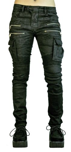 """Industrial Moto Pants  Black Pants with Zipper Details, Cargo Pockets, Wax Coating, Ribbed Detail around the Waist & Knees. Waist Measurements: Small: 30"""" Medium: 31"""" Large: 32"""" XLarge: 36"""""""