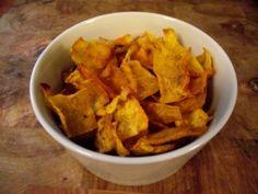Crispy Pumpkin Chips Ingredients •1 pumpkin •1 tbsp cumin •1/2 tbsp coriander •1/2 tsp sea salt •3 tbsp oil + olive oil for frying  Cut into thin thin pieces, I recommend a potato peeler.  http://cdequaine.bodybyvi.com