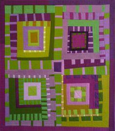 Skyrockets and monkshood by Karen Farmer.  Green & Purple, love this color combo.