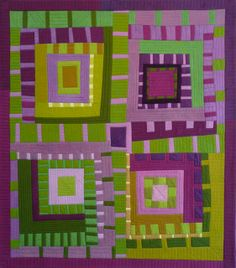 Skyrockets and monkshood by Karen Farmer.  Green & Purple, love this color combo.
