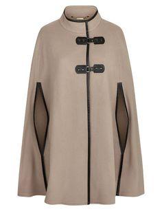 Buy Windsmoor Leatherette Trim Cape, Neutral from our Women's Coats & Jackets range at John Lewis & Partners. Hijab Fashion, Fashion Dresses, Mode Kimono, Hijab Chic, Cape Coat, Mode Hijab, Dress Patterns, Winter Fashion, Blazer