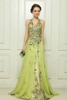 Tencel the computer embroidery Malay Satin light green evening dress