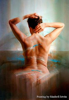 Le Dos de Anne - Oil on canvas by István Sándorfi Figure Painting, Painting & Drawing, Figure Drawing, Realistic Paintings, Life Drawing, Figurative Art, Art History, Oil On Canvas, Contemporary Art