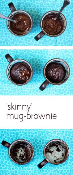 """This """"skinny"""" version of a mug brownie is to die for - and only takes 30 seconds in the microwave to cook! This recipe has 1/4 the calories of a regular mug brownie! Made with agave nectar and yogurt instead of sugar and butter."""