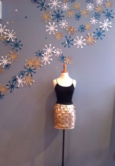 Gold Sequin Mini Skirt with Black Waist Band by Ya $48.00