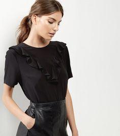 Black Frill Trim Short Sleeve Top    New Look