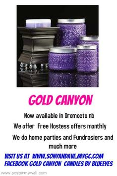 today visit my website also follow me on facebook  called gold canyon candles by  blue eyes  and twitter is whelans gold canyon  www.sonyandave.mygc.com