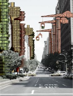 ARCHIGRAM, Plugin City. Ruchome platformy przenoszone za pomocą dźwigów, które mogłyby być umieszczone w dowolnym miejscu na ziemi.