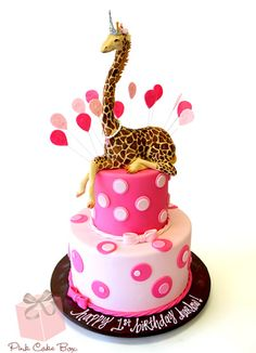 Pink Polka Dot Giraffe Birthday Cake I want a cake like this for my birthday! Except add 21 more years to that 1 year lol