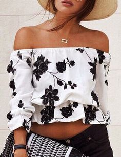 Exquisite Off the Shoulder Blouse with Embroidered Floral Detail…