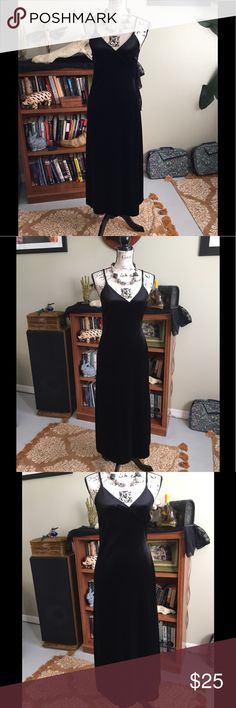 Sultry Low Cut Black Velvet Wrap Maxi Dress at XS Sultry Low Cut Black Velvet Wrap Dress at XS. No brand tag. Fits an XS. Good Condition. Love this Dress but it doesn't fit my chest. Dresses Maxi