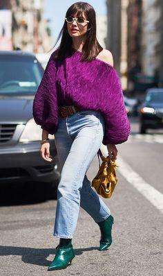 Purple Top + Non-Black Ankle Boots