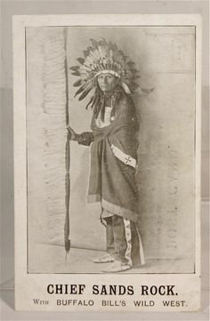 C.1903 postcard of Buffalo Bill's Wild West Show performer Lakota Sioux Native American identified as Chief Sands Rock.   s*c